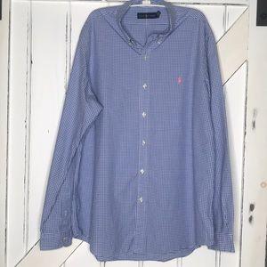 Ralph Lauren Blue White Checker Sz XL 100% Cotton